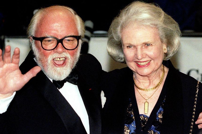 Richard Attenborough arrives at the Royal premiere of his film In Love And War with his wife Sheila Sim in London, in this file picture taken on Feb 12, 1997. -- PHOTO: REUTERS