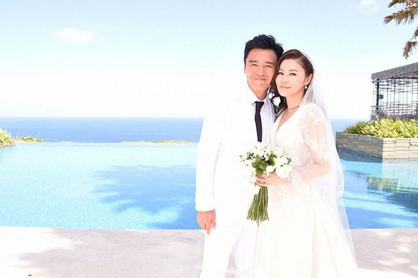 Actor-singer Kenny Bee marriedhis partner of 17 years, his former assistant Fan Chiang, at the Alila Villas Uluwatu resort in Bali on Monday, Aug 25, 2014.-- PHOTO: KENNY BEE