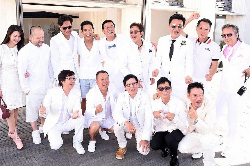 Celebrity male guests decked out in white at the wedding included Tony Leung Ka Fai, Jacky Cheung, Nick Cheung and Alan Tam.-- PHOTO: KENNY BEE