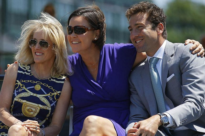 (From left) Former tennis world No. 1 Tracy Austin with former tennis players Lindsay Davenport and Justin Gimelstob in Newport, Rhode Island, on July 12, 2014.  Austin will play in the Legends Event at the BNP Paribas Women's Tennis Association