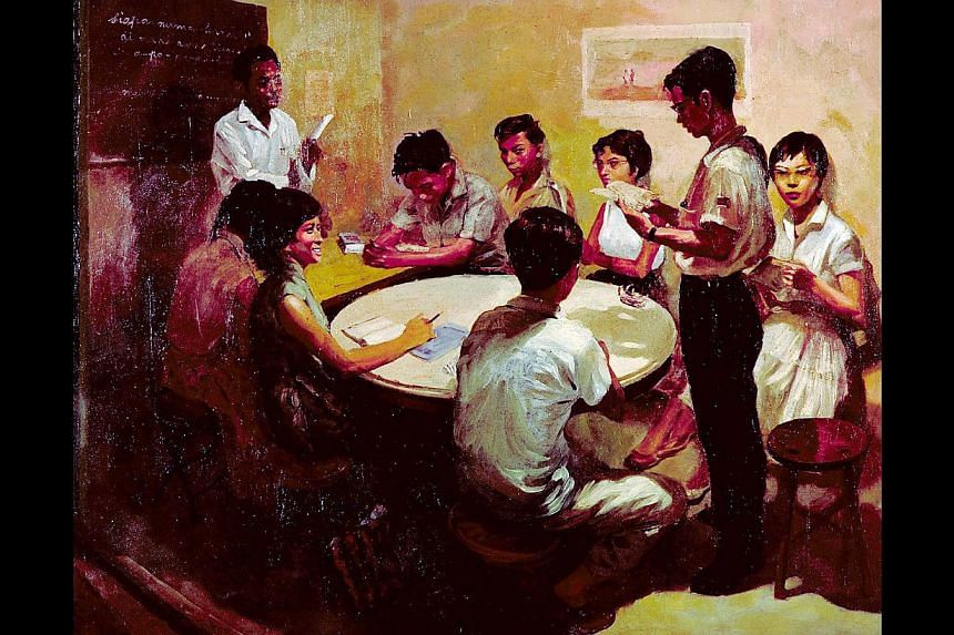 Pioneer artist Chua Mia Tee's National Language Class (above) will be part of the opening show at the National Gallery Singapore. Art Plural Gallery has commissioned 50 of Nan Qi's piece titled Nan Qi's Dot. -- PHOTO: NATIONAL COLLECTION, SINGA