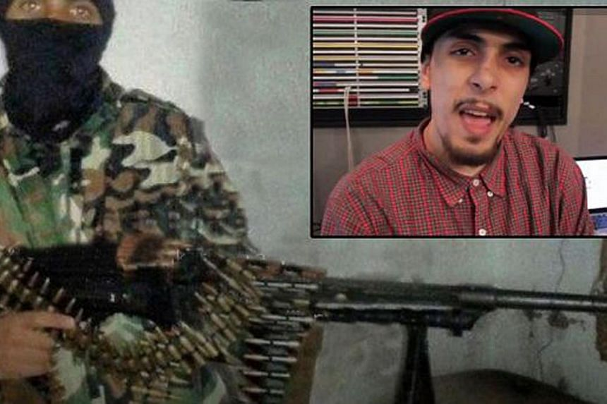 A man suspected to be Abdel-Majed Abdel Bary seen in military fatigues. Bary was a rapper who appeared in YouTube videos (inset).