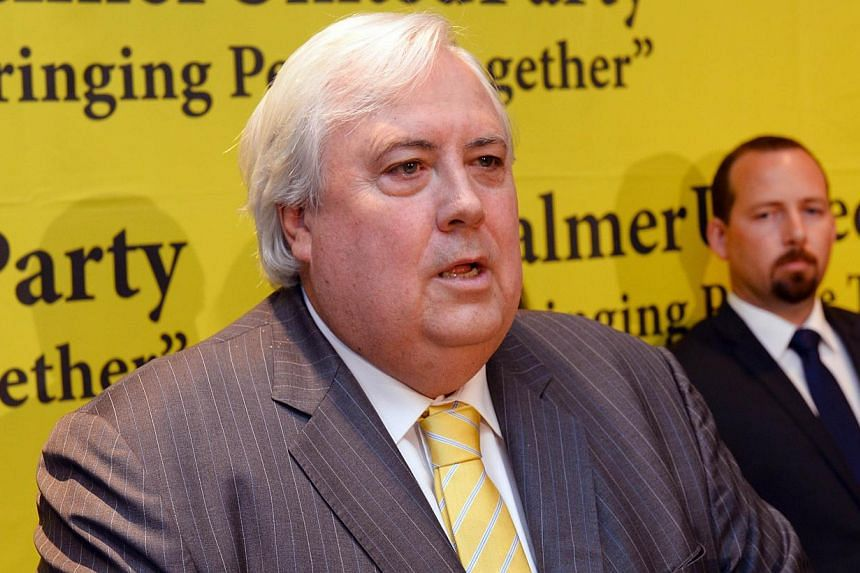 In this file photo taken on Oct 10, 2013 Australian mining billionaire and leader of the Palmer United Party (PUP) Clive Palmer speaks during a press conference in Sydney. -- PHOTO: AFP