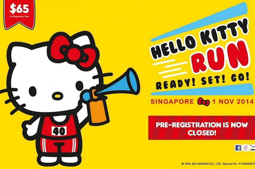 The Hello Kitty Run Singapore website announcing that pre-registration for the Nov 1 race is now closed, after reports that all 15,000 spots were snapped up in 24 hours. -- PHOTO: HELLO KITTY RUN SINGAPORE WEBSITE