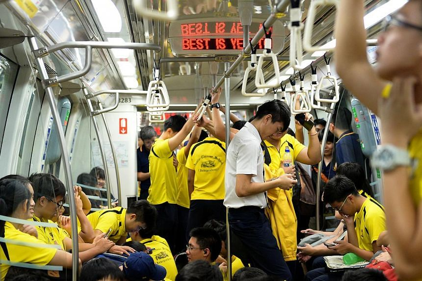 "Anglo Chinese School (Independent) students on board one of the five chartered MRT trains. The Land Transport Authority (LTA) said on Tuesday that it will take ""appropriate action"" against transport operator SMRT for not seeking prior approval f"