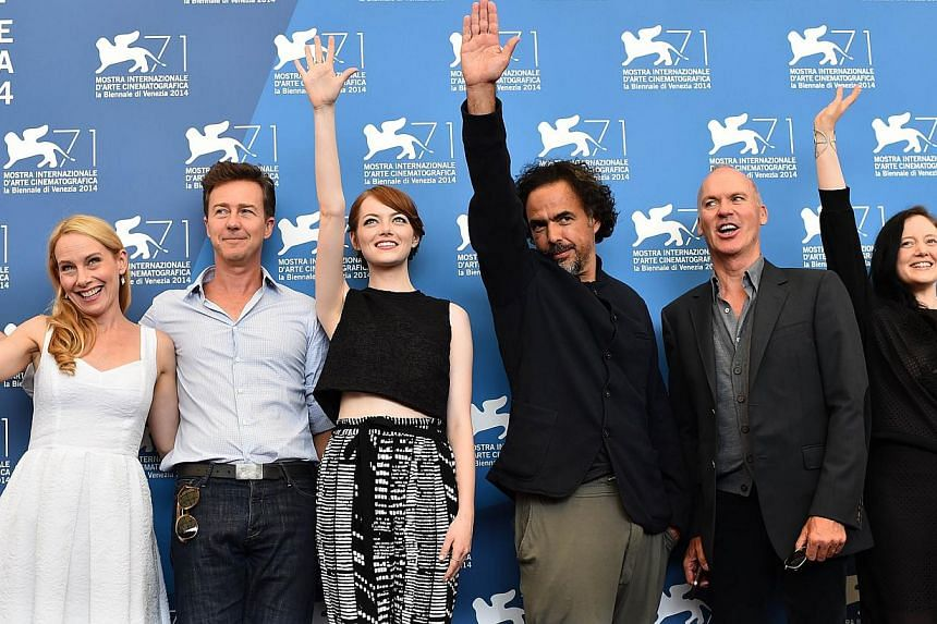 (From left) US actress Amy Ryan, US actor Edward Norton, US actress Emma Stone, Mexican director Alejandro Gonzalez Inarritu, US actor Michael Keaton and British actress Andrea Riseborough pose during the photocall of the movie Birdman or the Unexpec