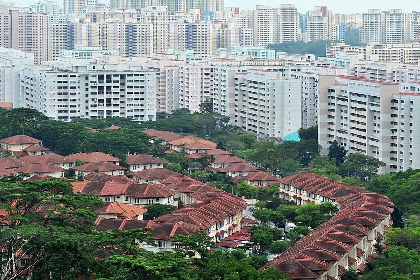 The pace of price falls in private resale homes in Singapore eased last month, as units outside the central areas rose in price, according to the latest data released on Thursday. -- PHOTO: ST FILE