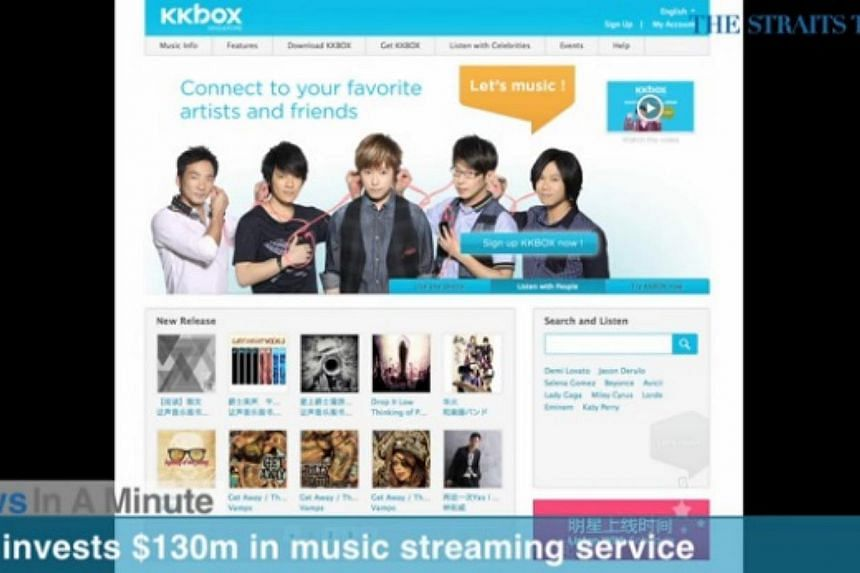 In today's The Straits Times News In A Minute video, we look at Government of Singapore Investment Corporation investing S$130 million in KKBOX, a music streaming service in Asia. -- PHOTO: SCREENGRAB FROM VIDEO
