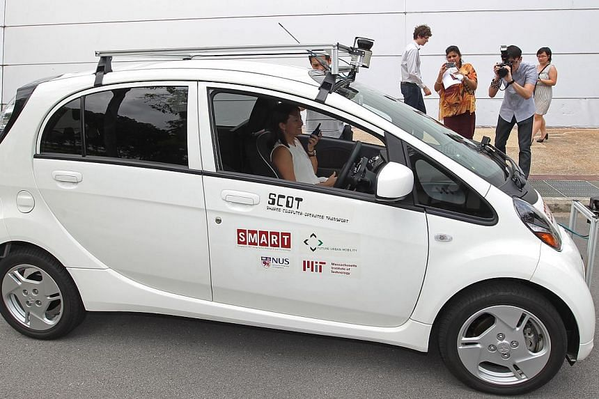 The Shared Computer Operated Transport - or Scot - car that is being test- driven at the National University of Singapore campus since January. The driverless car uses laser sensors to detect and avoid obstacles.