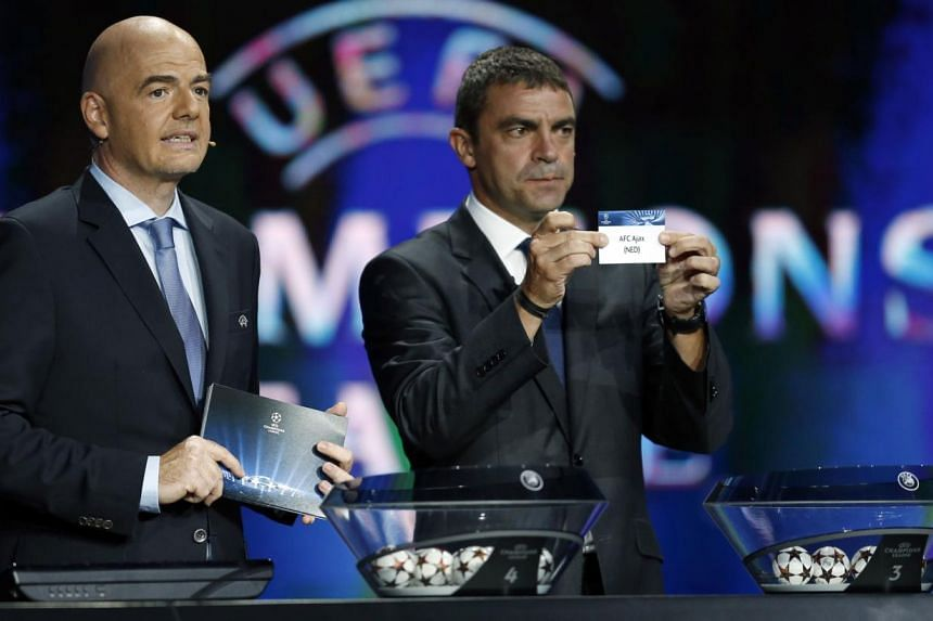 Champions Real Madrid will play five-time former winners Liverpool, while fellow Spanish giants Barcelona plucked big-spending Paris Saint-Germain, as the Champions League group stage draw was made in Monaco on Thursday. -- PHOTO: AFP