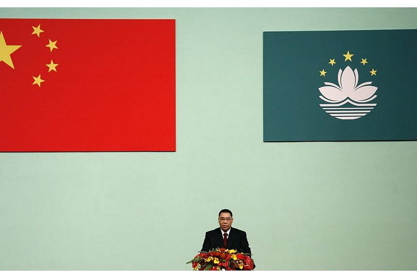 Fernando Chui speaks after being sworn in as Macau's Chief Executive in Macau, on the day marking the 10th anniversary of the former Portuguese enclave's handover to Chinese rule, in this Dec 20, 2009, file photo.Mr Chui is widely expected to b
