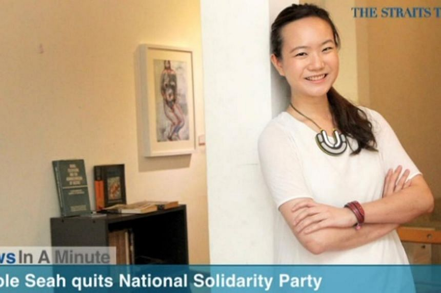In today's The Straits Times News In A Minute video, we look at Nicole Seah, the youngest candidate to contest in the 2011 General Election, resigning from the National Solidarity Party.-- PHOTO: SCREENGRAB FROM VIDEO