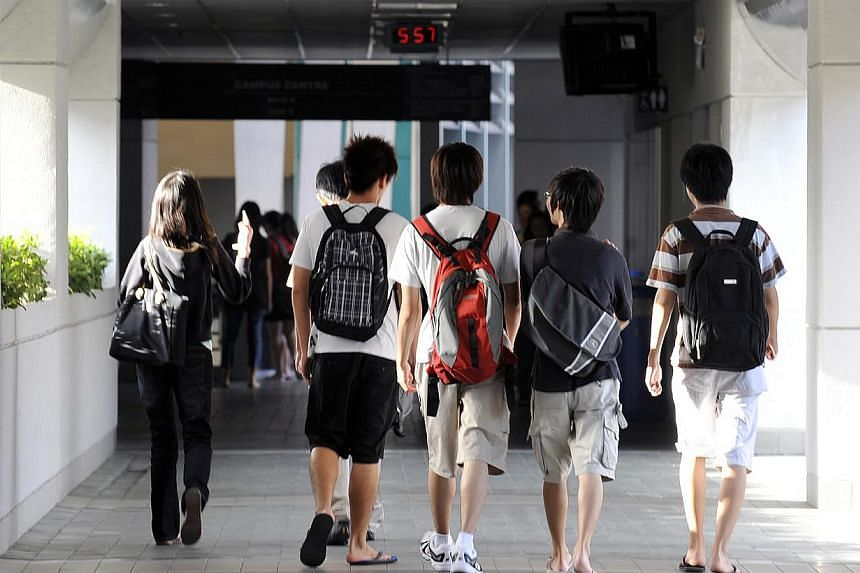 Nanyang Poly students at their Yio Chu Kang campus. Employers and HR experts say the time taken for a top diploma hire to close the pay gap with his graduate counterpart has shortened.