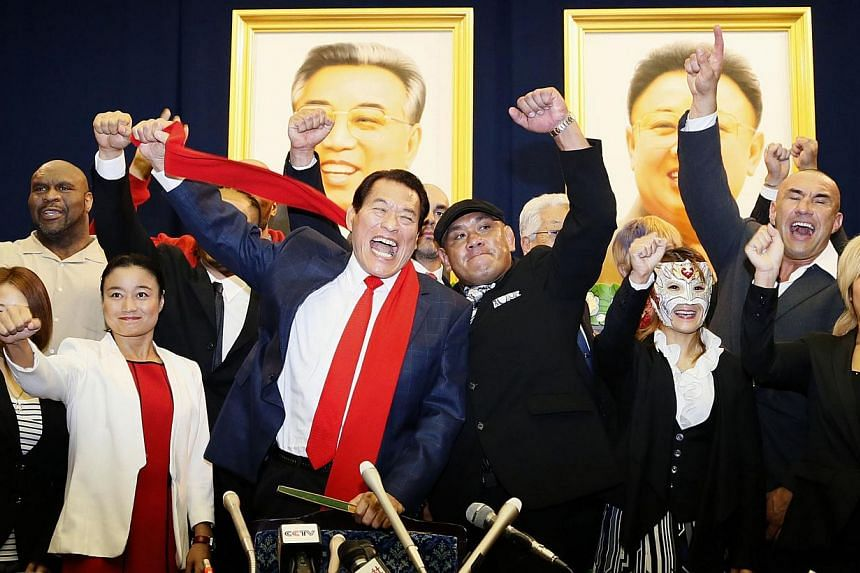 """Flamboyant Japanese wrestler-turned-politician Kanji """"Antonio"""" Inoki kicked off his brand of sports diplomacy in North Korea on Saturday ahead of an unusual two-day event featuring martial artists from around the world. -- PHOTO: REUTERS"""
