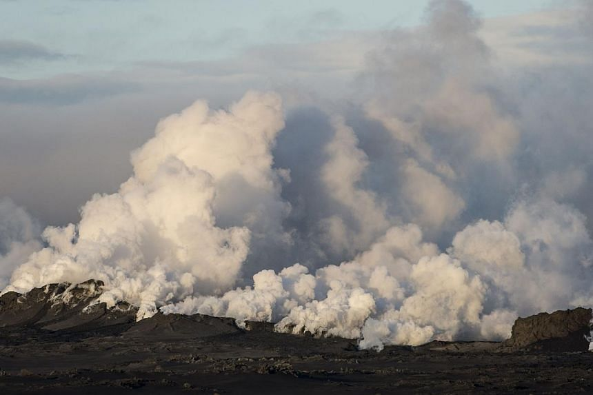 Steam and smoke rise over a 1-km-long fissure in a lava field north of the Vatnajokull glacier, which covers part of the Bardarbunga volcano system, on Aug 29, 2014.Iceland on Sunday, Aug 31, raised its aviation alert over its largest volcano t