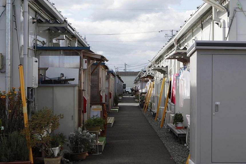 A view shows the Izumitamatsuyu temporary housing estate, where 200 former Tomioka town residents have evacuated to, in Iwaki, Fukushima prefecture. -- PHOTO: REUTERS