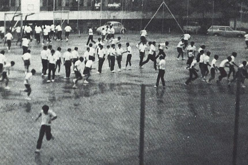 DPM Tharman mingling with his old ACS schoolmates during the reunion at the ACS auditorium. The old boys also did their part for charity by raising nearly $400,000 in funds. Below, the boys, then in Sec 4, playing at the old campus.