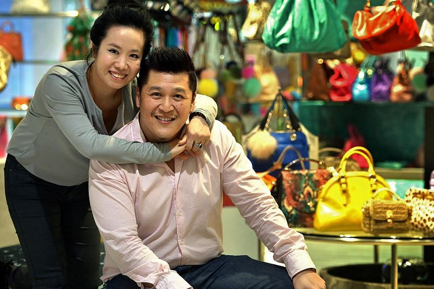 Mr Jimmy Lim gave up his job as a bodyguard (right) to some of Singapore's top Cabinet ministers to help his wife, Madam Grace Guo (above), run her handbag business when the business took its toll on her health. Mr Jimmy Lim has come full circle from