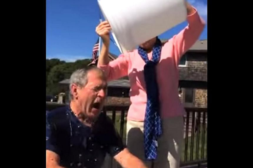 Microsoft's Bill Gates and former US president George W. Bush (above) are among the high-profile personalities who have taken part in the ice bucket challenge. -- PHOTO: SCREEN GRAB FROM YOUTUBE