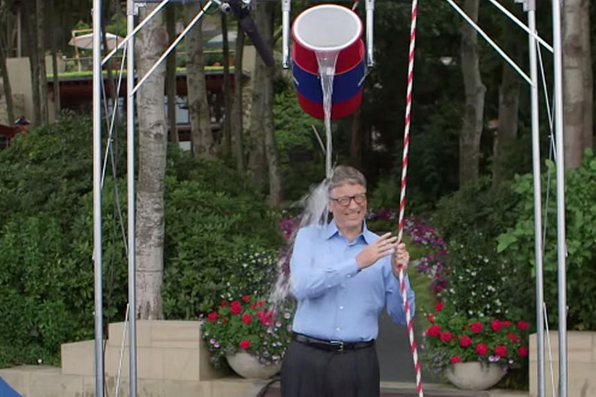 Microsoft's Bill Gates (above) and former US president George W. Bush are among the high-profile personalities who have taken part in the ice bucket challenge. -- PHOTO: SCREEN GRAB FROM YOUTUBE
