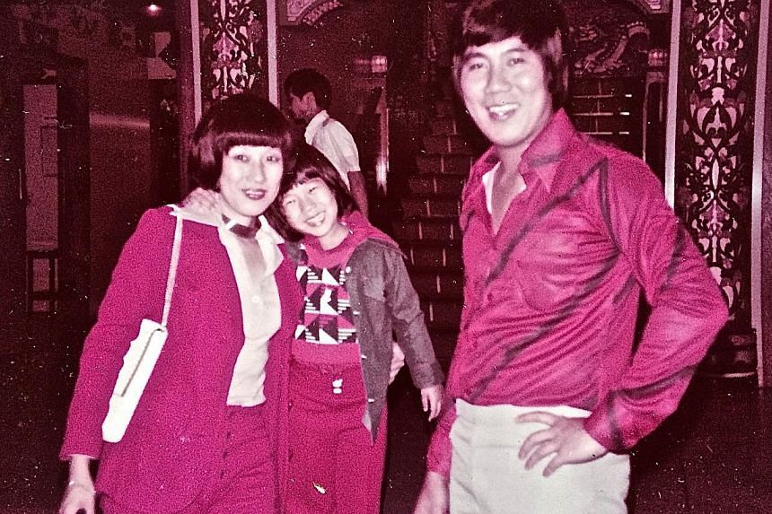 Lynn Ban with parents Patricia and David Ban (above) in 1976 and with her son Sebastian this year. -- PHOTO: COURTESY OF LYNN BAN