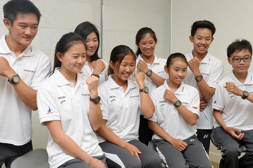 Members of the sailing team who will be representing Team Singapore at the Asian Games in Incheon, Korea. -- ST PHOTO:AZIZ HUSSIN