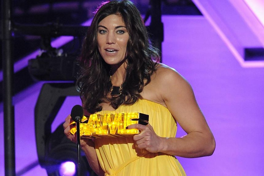 Soccer player Hope Solo accepts the She's Got Game award at the Cartoon Network's Hall of Game Awards in Santa Monica, California in this Feb 18, 2012. She was one of several stars to have nude photos leaked on social media in a recent hacking leak.