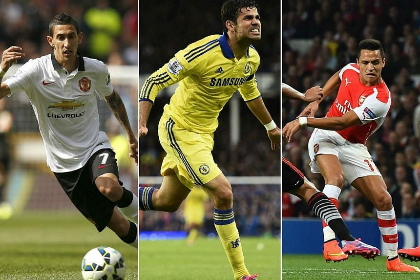 (From left) Manchester United midfielder Angel di Maria, Chelsea striker Diego Costa and Arsenal forward Alexis Sanchez all made big money moves to the English Premier League. -- PHOTOS: AFP, REUTERS
