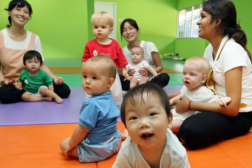 A new study of six-month-old infants has discovered that babies exposed to two languages may have better memory and information processing skills than those only exposed to one. -- PHOTO: ST FILE