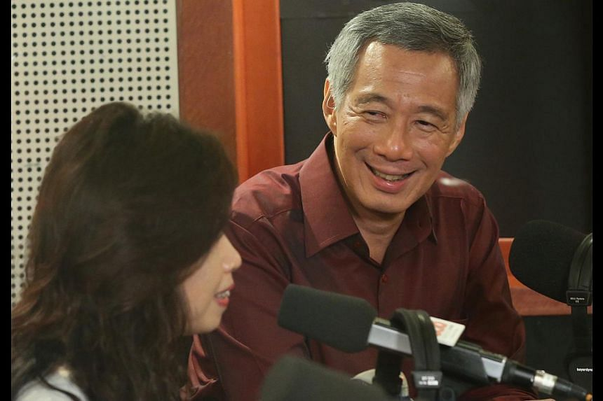 Mr Lee participating in the Capital 95.8FM radio programme yesterday. Besides CPF, he was also asked questions on issues such as the Lease Buyback Scheme and the push to provide more opportunities for non-degree holders.