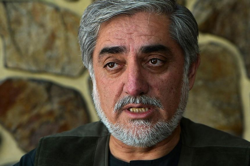 Afghan presidential candidate Abdullah Abdullah talks during an interview with AFP at his residence in Kabul on Aug 9, 2014. -- PHOTO: AFP