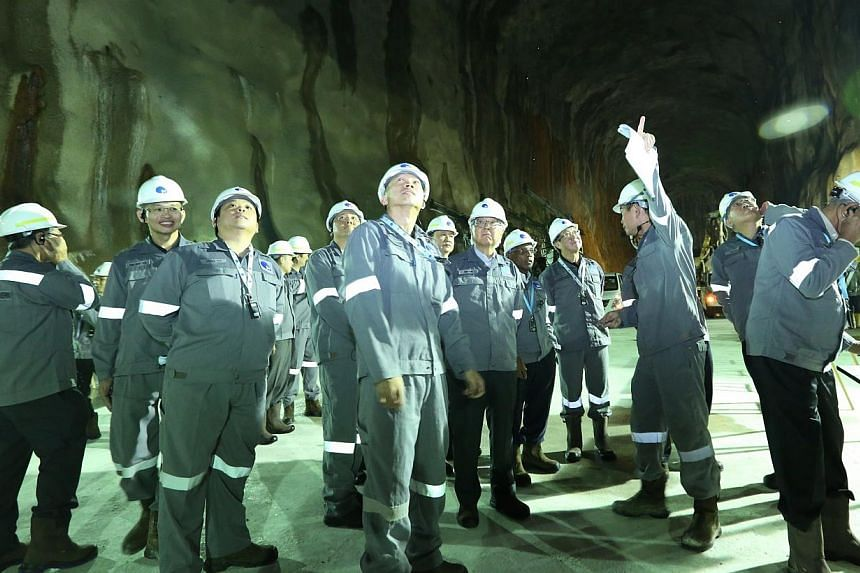 JTC Corporation hosted a visit by President Tony Tan Keng Yam and the Council of Presidential Advisers at the Jurong Rock Caverns on Jurong Island on Feb 25, 2014. -- PHOTO: JTC CORPORATION