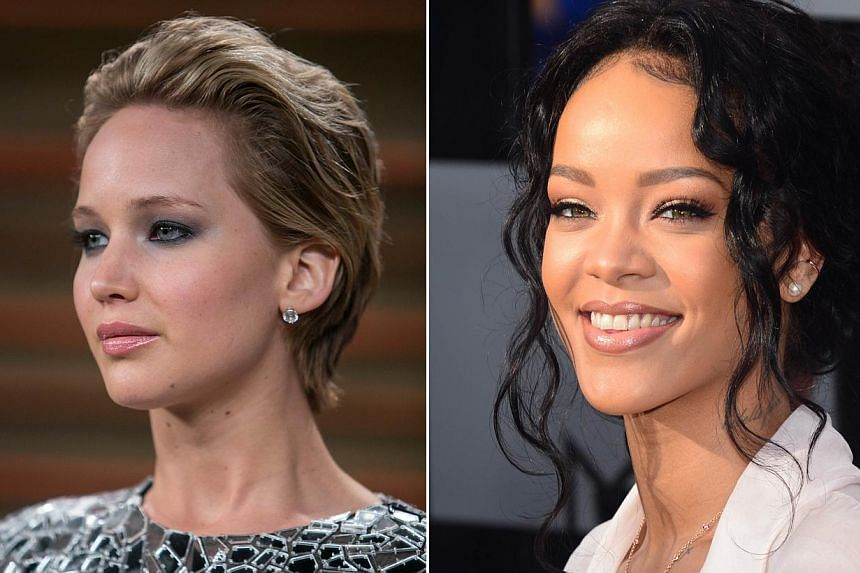Oscar-winner Jennifer Lawrence (left) seen at the 2014 Vanity Fair Oscar Party on March 2, 2014 in West Hollywood, California and pop star Rihanna seen at the2014 MTV Movie Awards at the Nokia Theater in Los Angeles on April 13, 2014. They were among