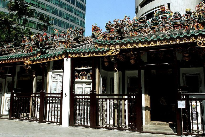 A $7.5 million, five-year makeover of the Yueh Hai Ching temple (pictured) - which included two years on research alone - has taken home a 2014 Unesco Asia-Pacific Heritage Award. -- PHOTO: ST FILE