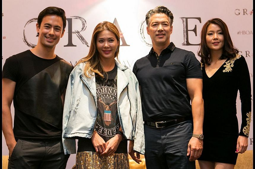 Actor Russell Wong (above, third from left) plays the lead role of Roy Chan (right) in horror series Grace, which also stars (above, from left) George Young, Constance Song and Pamelyn Chee.