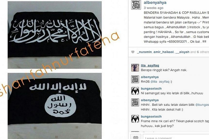 A picture posted onAlbenyahya Enterprise's Instagram accountallegedly showing flags that resemble those of terror group Islamic State in Iraq and Syria (ISIS). -- PHOTO: ALBENYAHYA/ INSTAGRAM