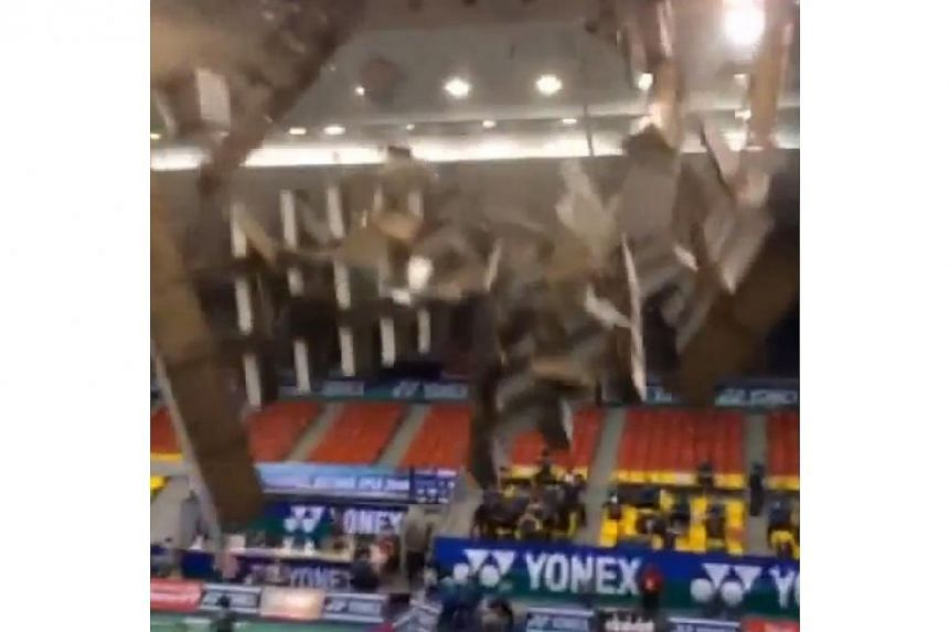 """Manpower Minister Tan Chuan-Jin posted a video of the incident on his Instagram account on Wednesday with the caption """"Ceiling collapse in badminton tournament in Ho Chi Minh City. All our shuttlers safe"""". -- PHOTO: SCREENGRAB FROM INSTAGRAM PAGE OF"""