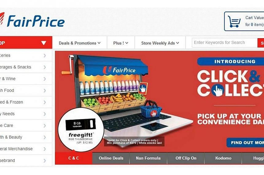 A screengrab of the NTUC FairPrice website, showing theClick & Collect service. -- PHOTO: NTUC FAIRPRICE