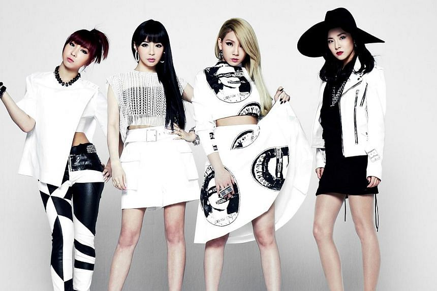 K-pop girl group 2NE1, (from left) Minzy, Park Bom, CL and Dara.-- PHOTO:YG ENTERTAINMENT AND LIVE NATION KOREA