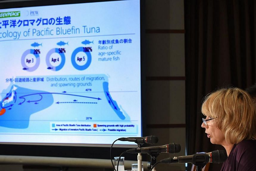 """The Pew Charitable Trusts, an independent non-profit, non-governmental organization, director Amanda Nickson (centre) speaks during a presentation titled """"Current Situation of Pacific Bluefin Tuna (PBF) and Stock Management"""" at the Foreign Correspond"""