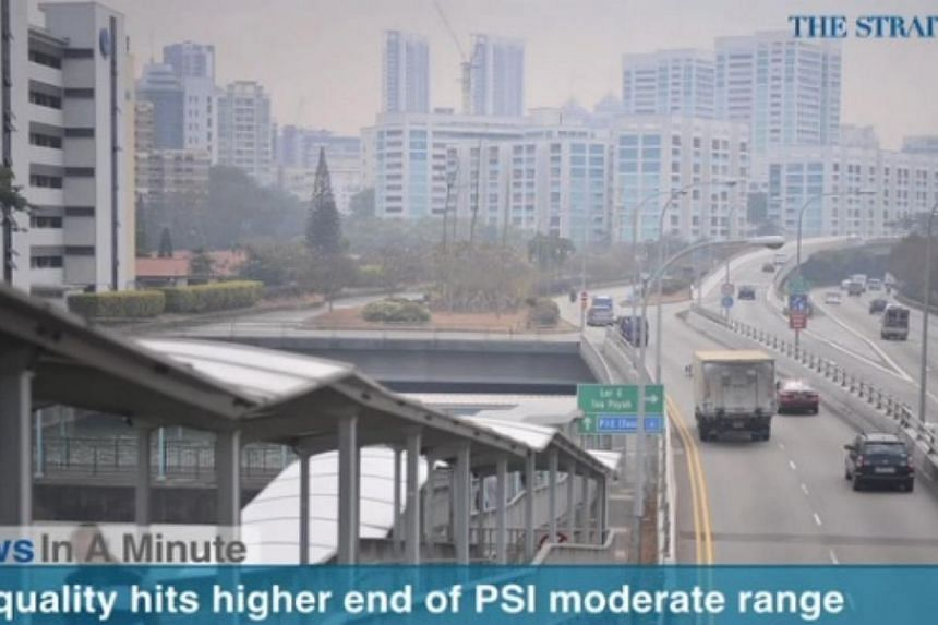In today's The Straits Times News In A Minute video, we look at the slight hazy conditions seen around Singapore as air quality hit the higher end of the moderate range, peaking at 84 on Thursday, among other issues. -- PHOTO: SCREENGRAB FROM VIDEO
