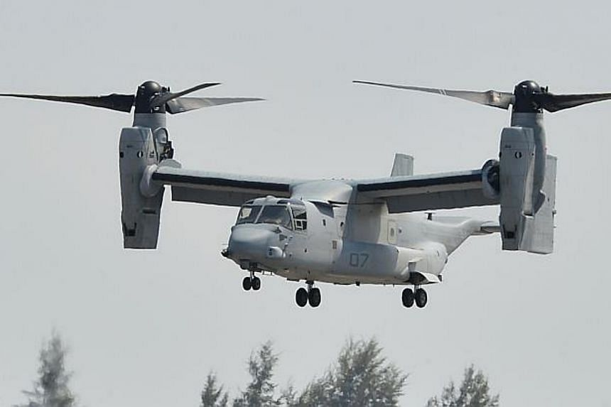 The US Marine Corps MV-22 Osprey in flight at the Singapore Airshow 2014. -- PHOTO: ST FILE