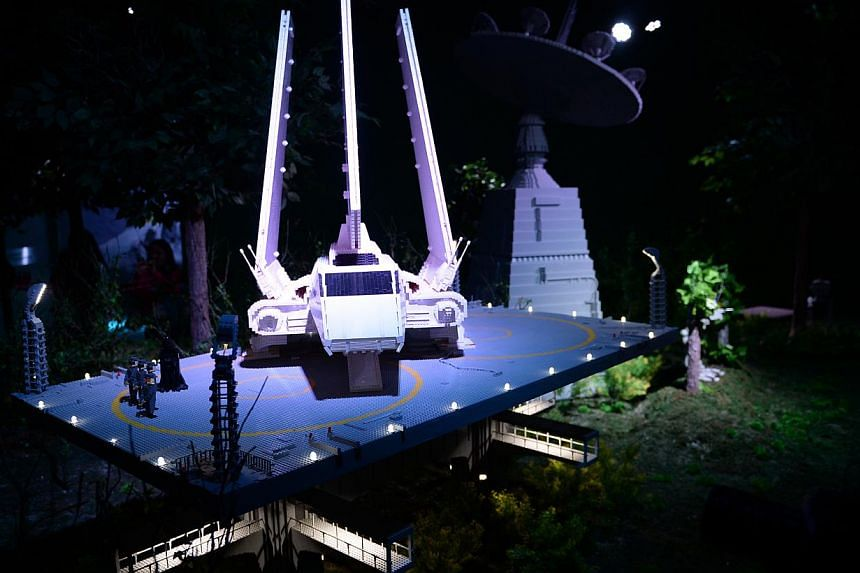 The Imperial shuttle Tydirium in the docking bay at the Lego Star Wars Miniland in Legoland, Malaysia on Sept 3, 2014. -- ST PHOTO: JOYCE FANG