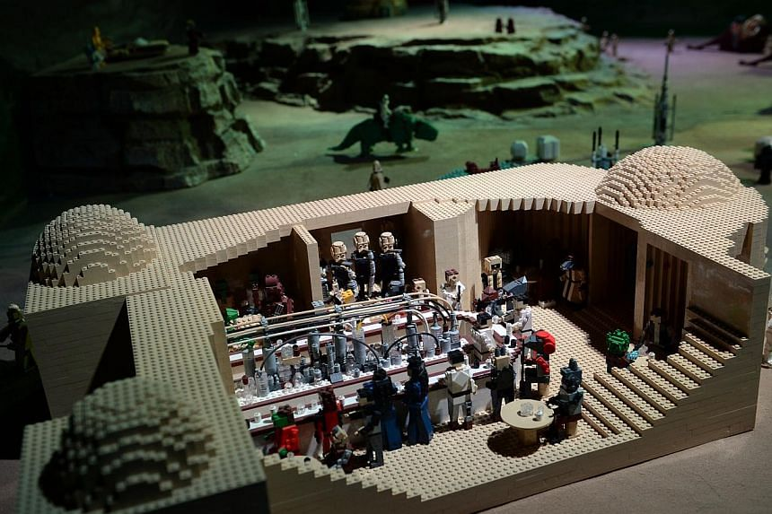 A model display of the interior of the Mos Eisley Cantina at the Lego Star Wars Miniland in Legoland, Malaysia on Sept 3, 2014.-- ST PHOTO: JOYCE FANG
