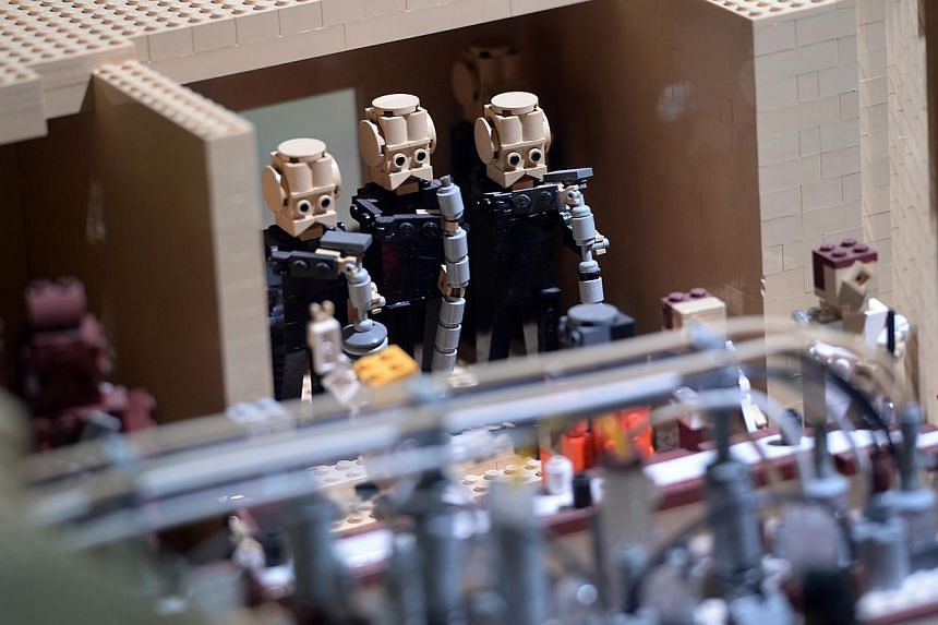 Musicians in the Mos Eisley Cantina display at the Lego Star Wars Miniland in Legoland, Malaysia on Sept 3, 2014.-- ST PHOTO: JOYCE FANG