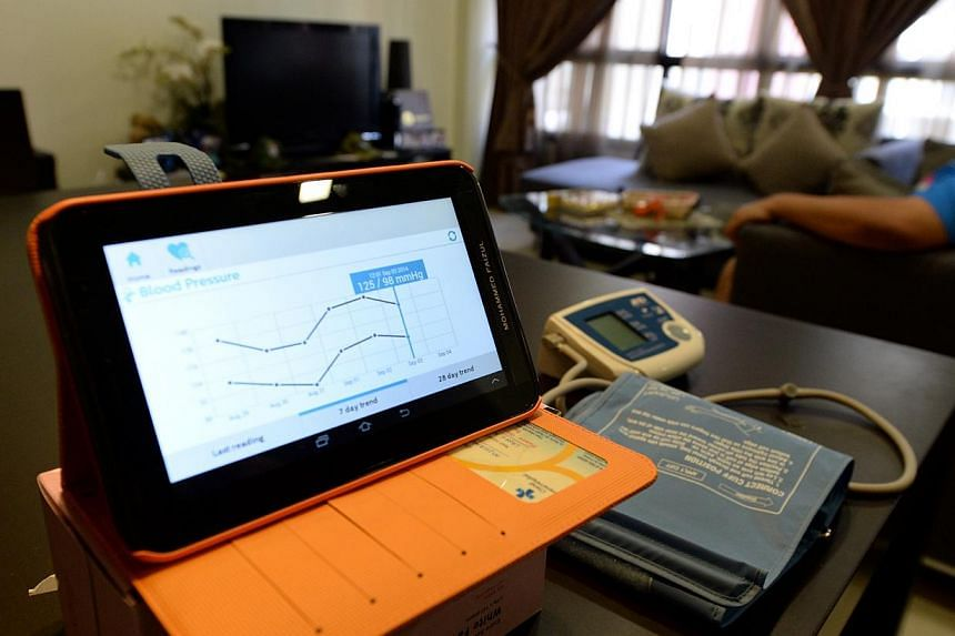 Each patient is given a personal health tablet, a weighing machine and a blood pressure monitor to use daily for a year. The readings are uploaded automatically to a central system via a 3G network.