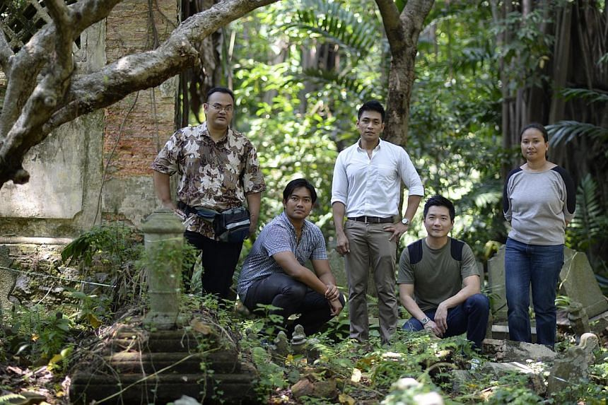 (From left) Dr Mohamed Effendy; site map consultant Yazid Ninsalam; Dr Imran Tajudeen; Mr Alvin Tan and Malay Heritage Centre curator Noorashikin Zulkifli. The team has been documenting the graves for half a year.