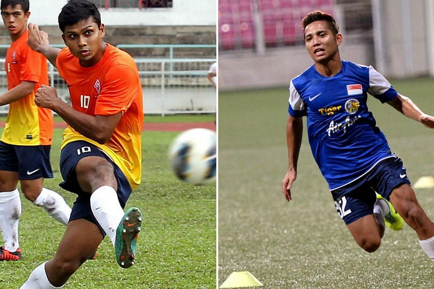 Home United's Fazrul Nawaz (left) and Courts Young Lions' Sahil Suhaimi will spearhead Singapore's attack in their upcoming friendly matches against Papua New Guinea and Hong Kong. -- PHOTOS: BERITA HARIAN FILE, THE NEW PAPER FILE
