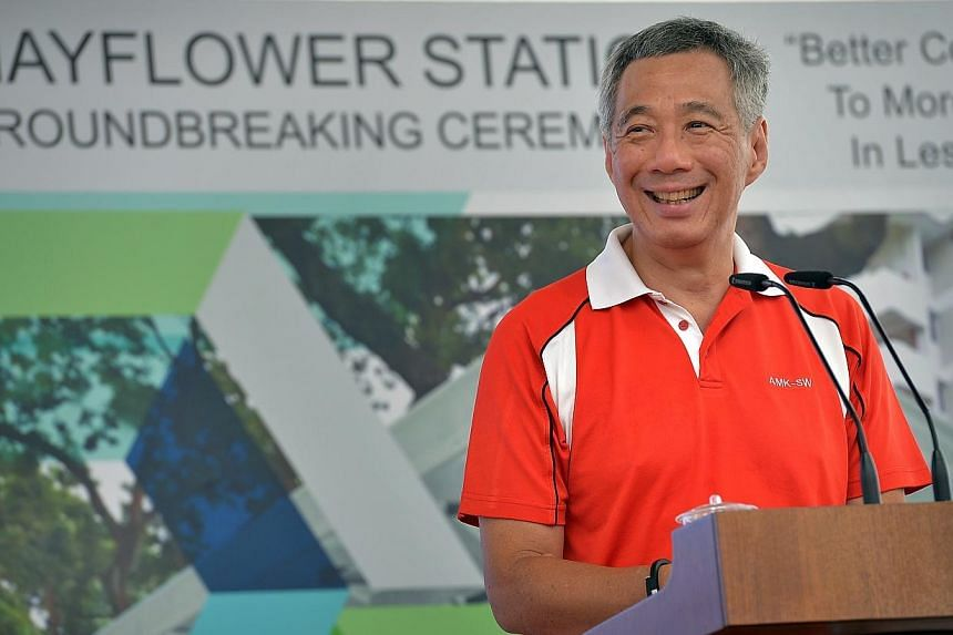 Prime Minister Lee Hsien Loongdelivering his speech about the future Mayflower Station.-- ST PHOTO:KUA CHEE SIONG