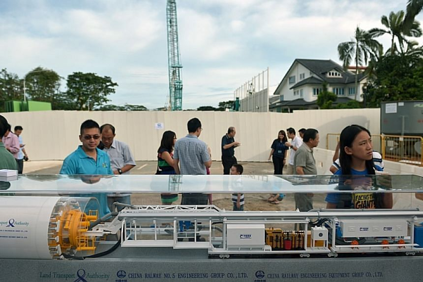Residents and visitors of Lentor at the groundbreaking site for the future Lentor Station.-- ST PHOTO:KUA CHEE SIONG